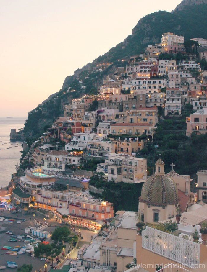Positano view at dusk by Heather Lindstrom