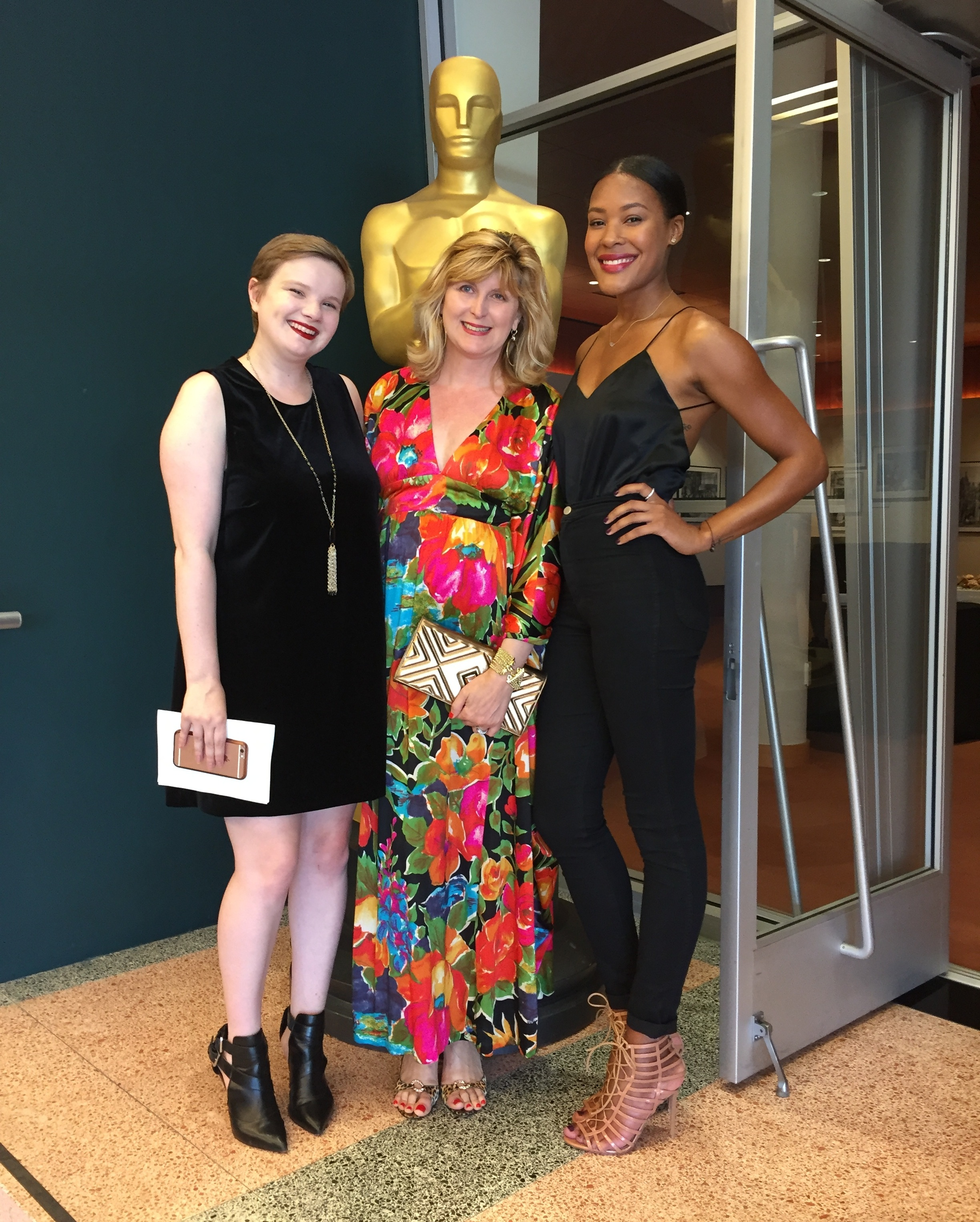 Doreen Creede/Style Maniac (center) with Pretty Thing Studios founders Sarah Hawkins (left) & Myah Hollis (right) at The Academy of Motion Picture Arts & Sciences for the premiere of OR DIE TRYING.