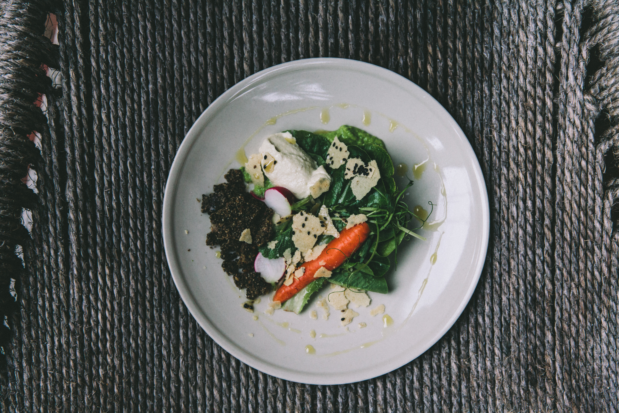 """Garden Dipping plate, Sunflower """"mayonaise"""" black olive crackers, miso pea grass and vegetables"""