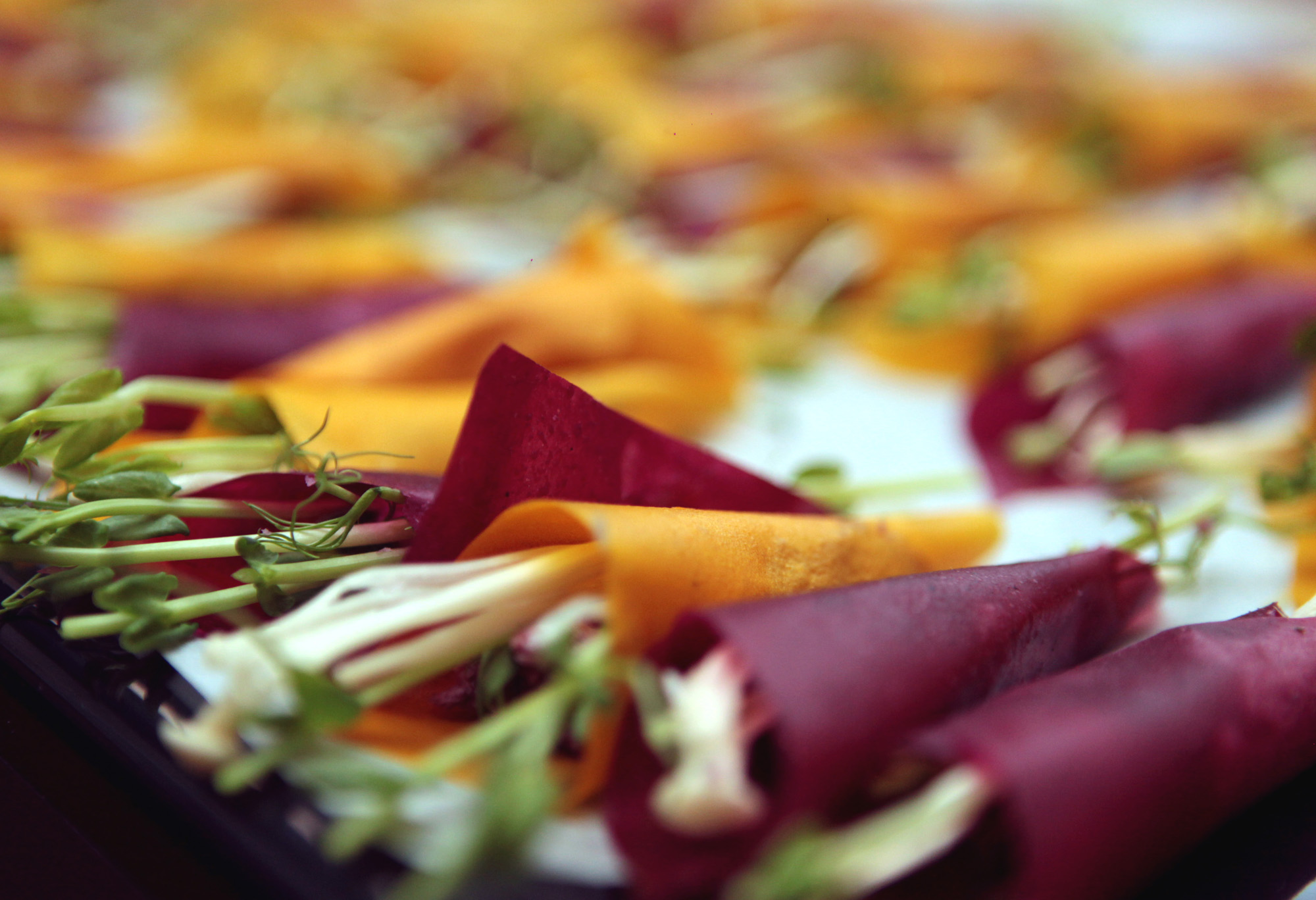 Beetroot & carrot wrappers made from young coconuts.  Photo: Des Moriarity