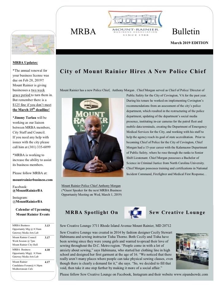 Mrba marCh 2019 newsletter