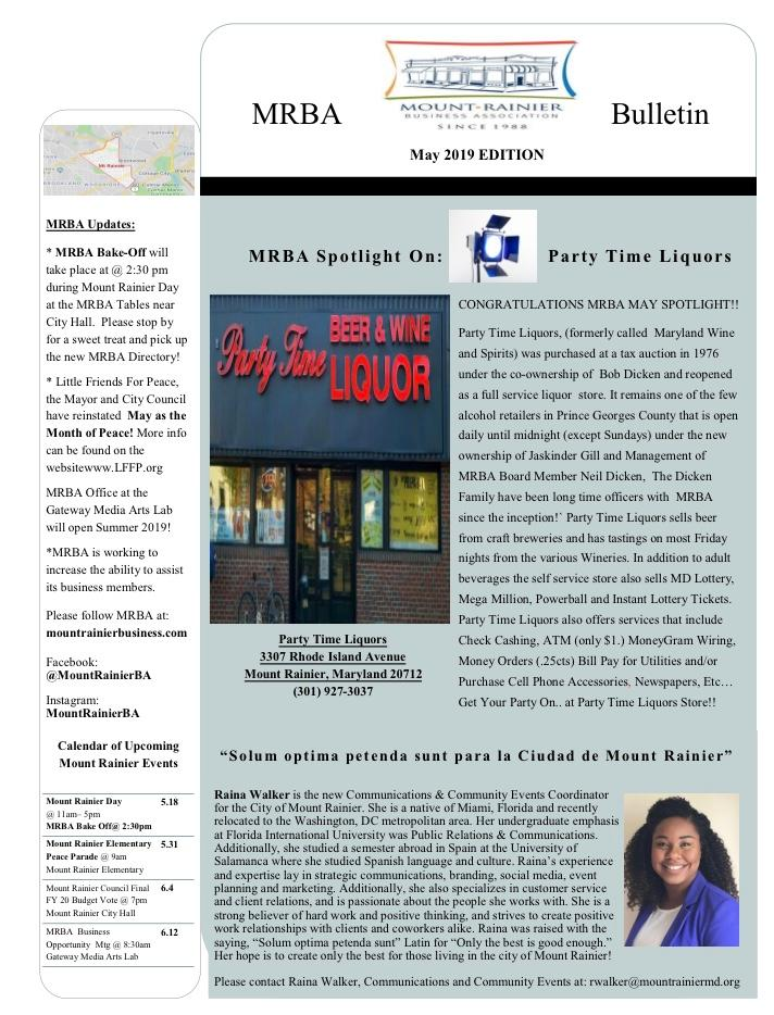MRBA May 2019 Bulletin Newsletter