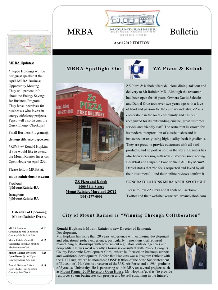 MRBA April 2019 Bulletin Newsletter