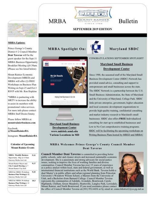 MRBA September 2019 newsletter
