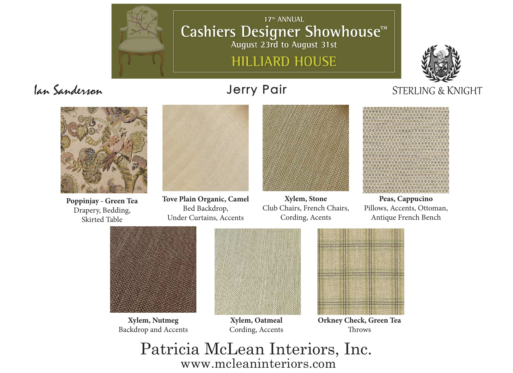 Scheme for the upcoming 2014 Cashiers Designer Showhouse. Click to enlarge.