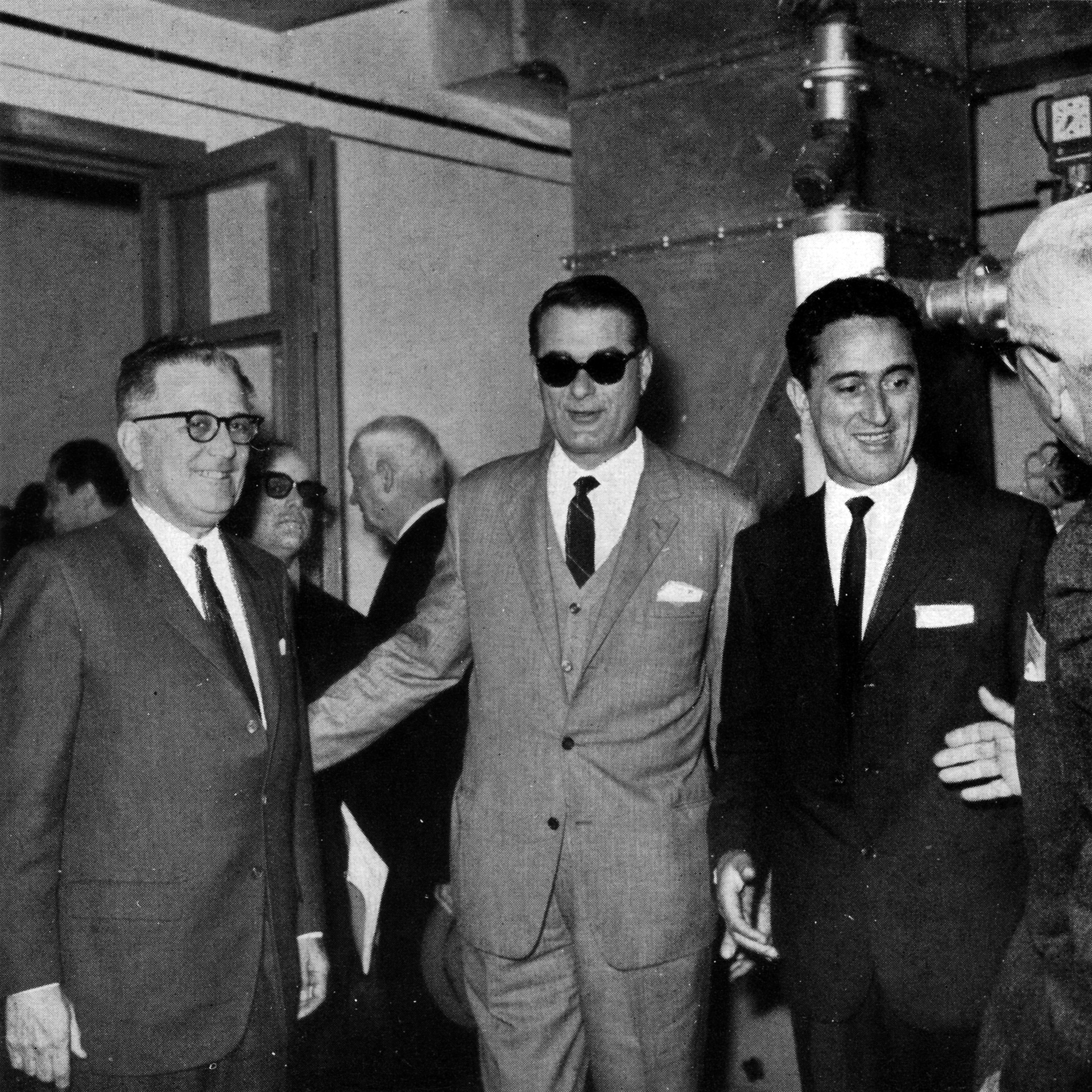 The 3M Corporation purchased Ferrania in 1964.From left: 3M CEO Bert S. Cross with Dr. Paolo Bassignana, Head of R&D and Dr. Guido Polla, both of Ferrania, at the inauguration of the L.R.F. (courtesy  Fondazione 3M )