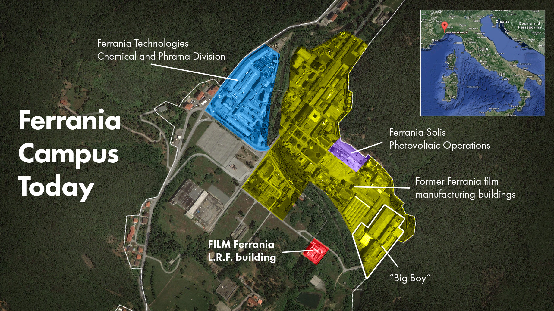 This map should help you visualize the location and scale of Ferrania's campus - click to enlarge.