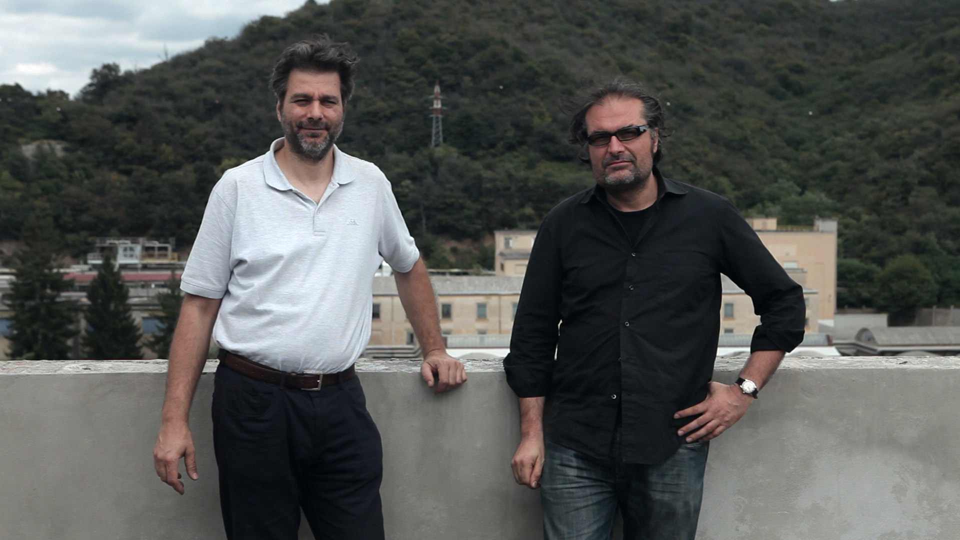 Marco Pagni and Nicola Baldini during the filming of the Kickstarter video
