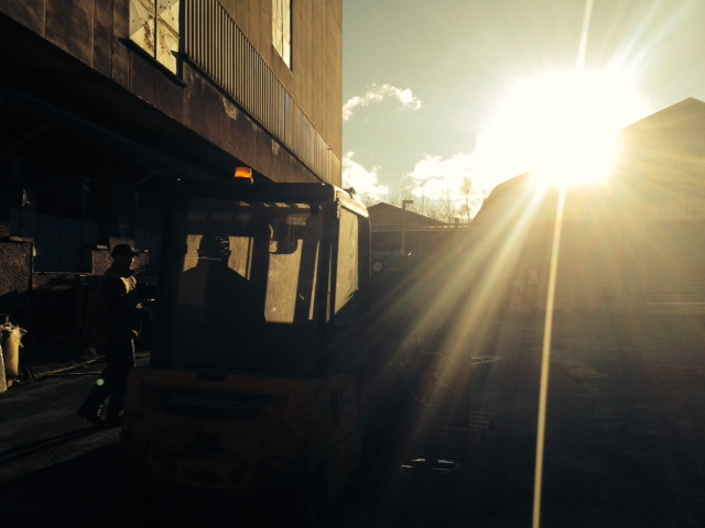 Sunlight over the temporary storage facility