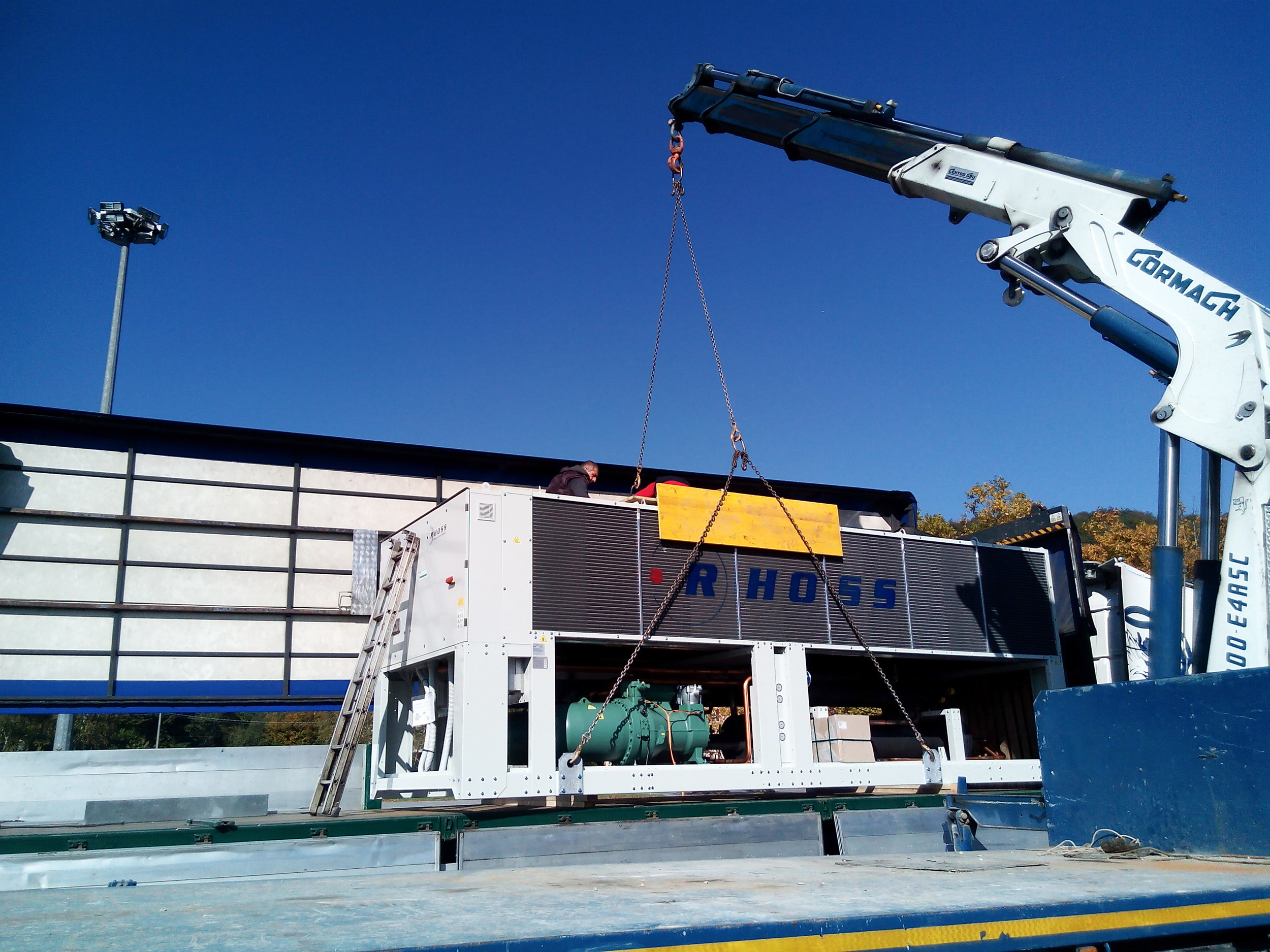 The Big Chiller is loaded onto a truck to move it near it's final position