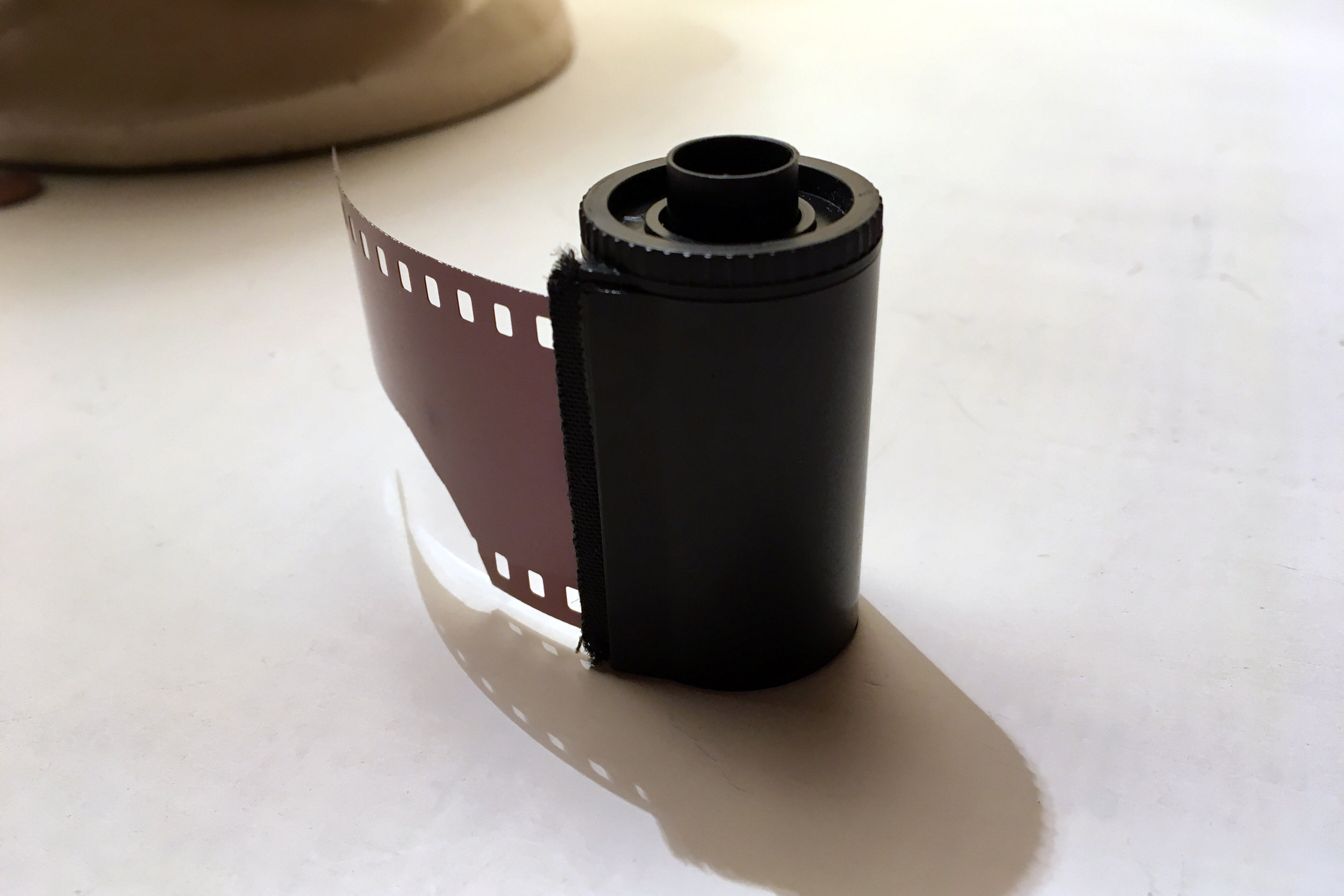 This is the first roll of photographic film produced on the Precision Coater by FILM Ferrania. This 12 exposure roll was cut and hand-spooled from an unexposed section of the 17m test strip produced on Tuesday, December 6, 2016.