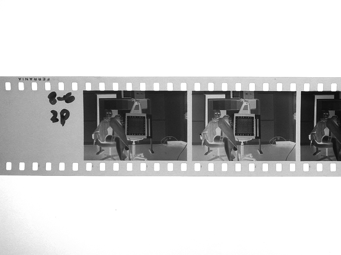 Lightbox view of the P30 test strip with the Ferrania signature.