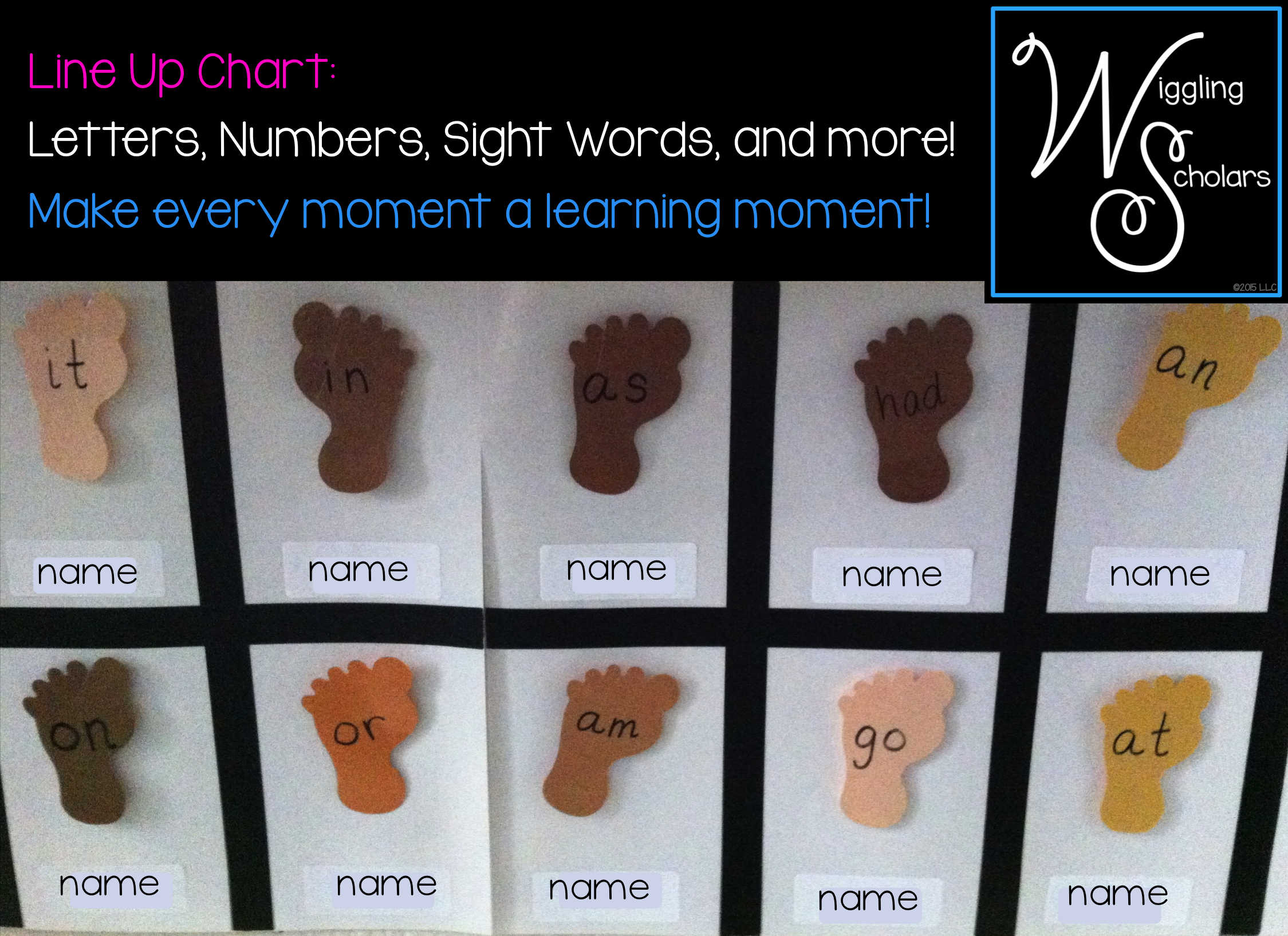 Line up feet chart with Alphabet Letters