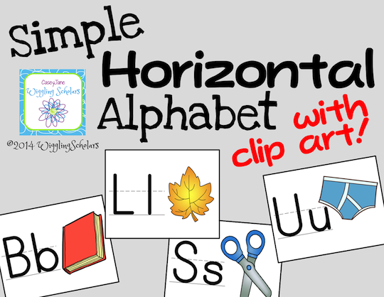 Horizontal Alphabet with Clip Art by Wiggling Scholars