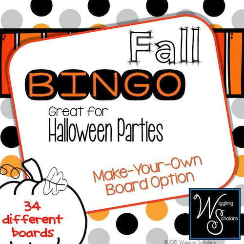 Fall Bingo by Wiggling Scholars