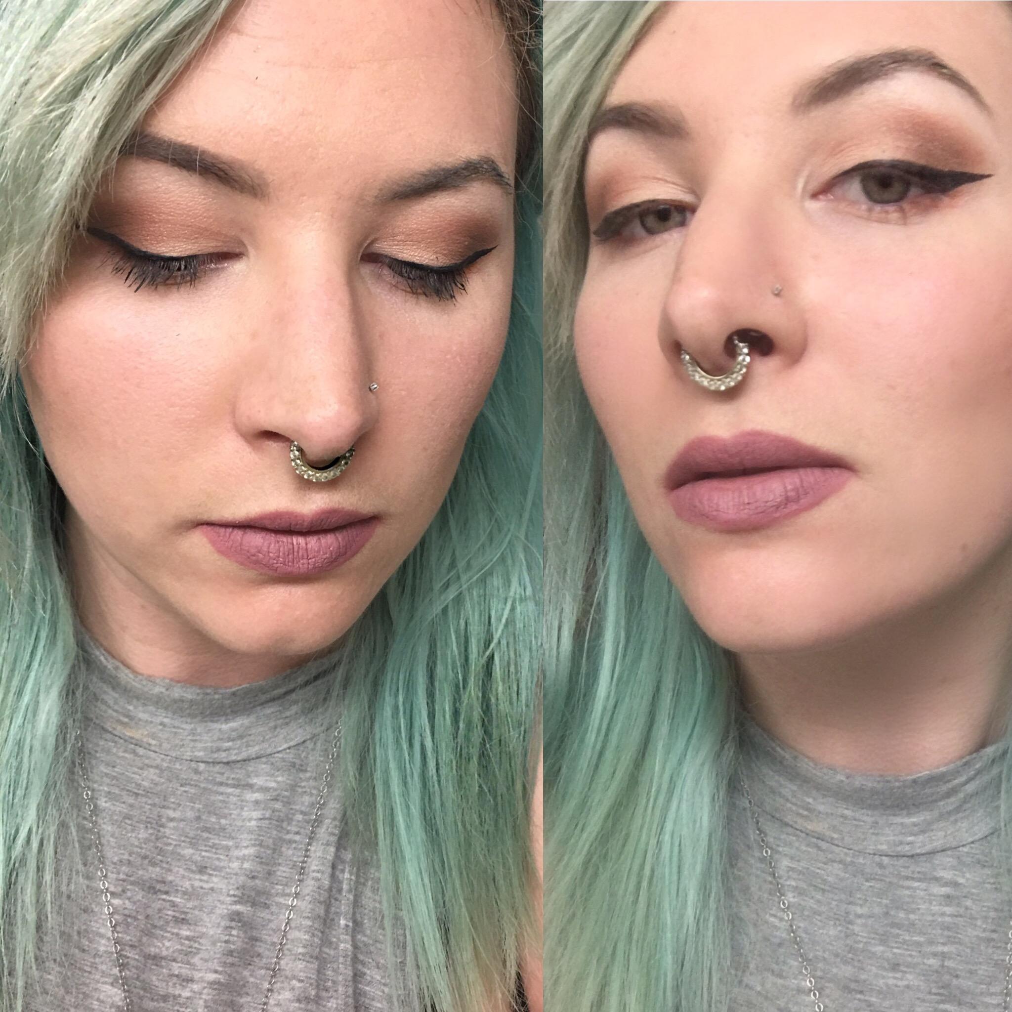 More of a grey look with Stila Baci liquid lipstick
