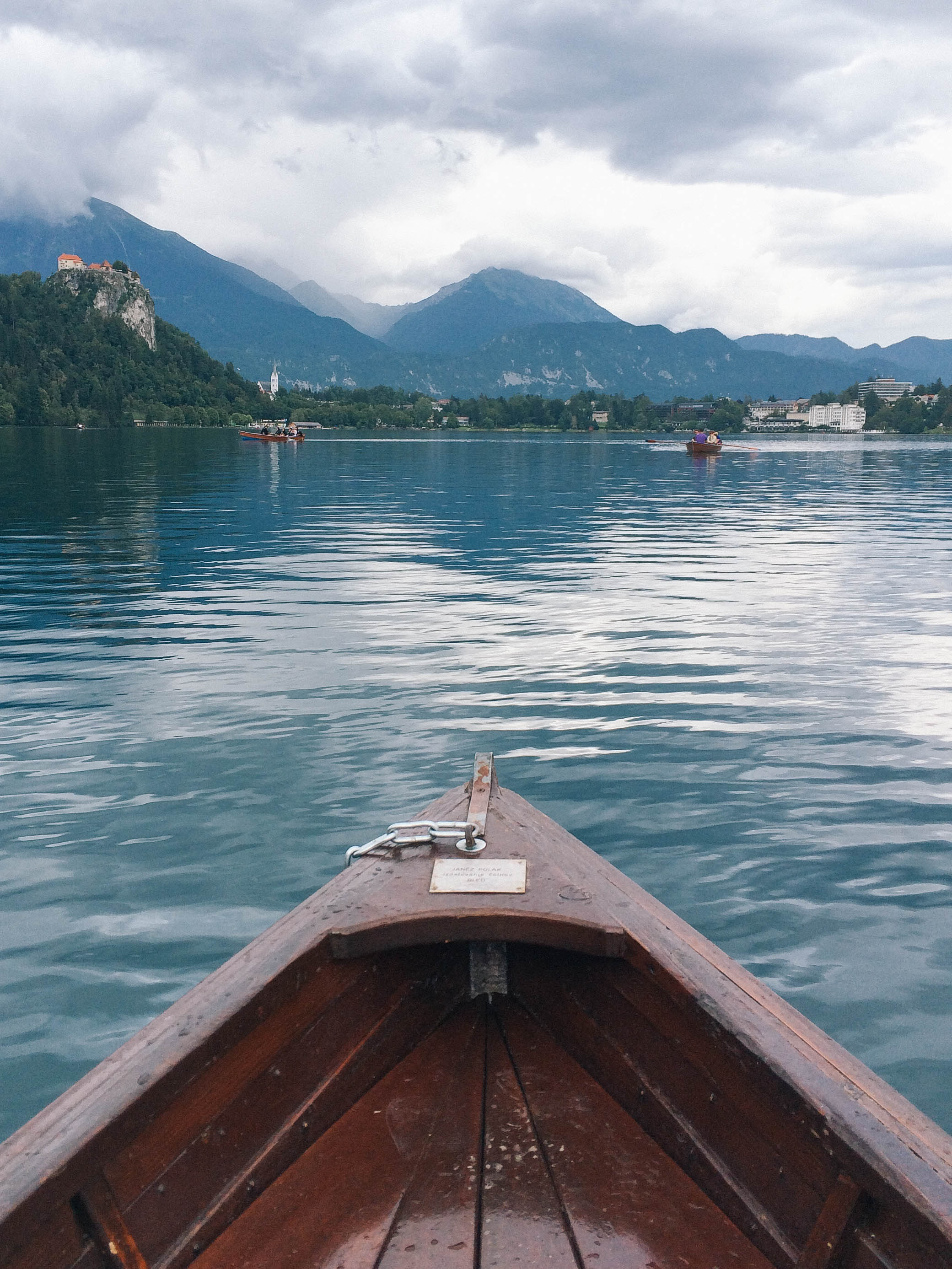 Rowing around Lake Bled, Slovenia with a view of Bled Castle