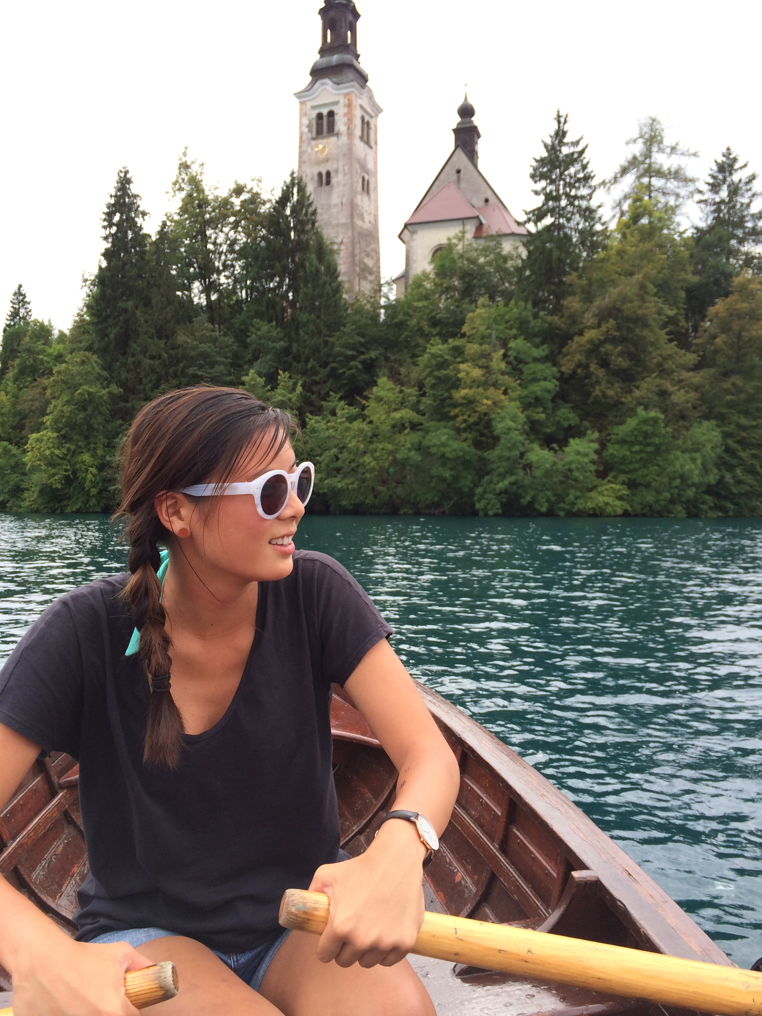 Rowing in Lake Bled, Slovenia
