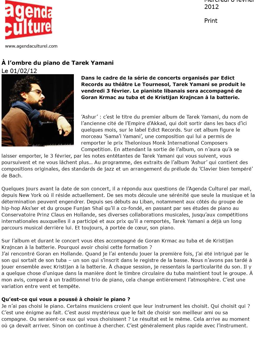 Agenda Culturel  / 01 Feb 2012 / Nayla Rached -  A L'Hombre du Piano de Tarek Yamani