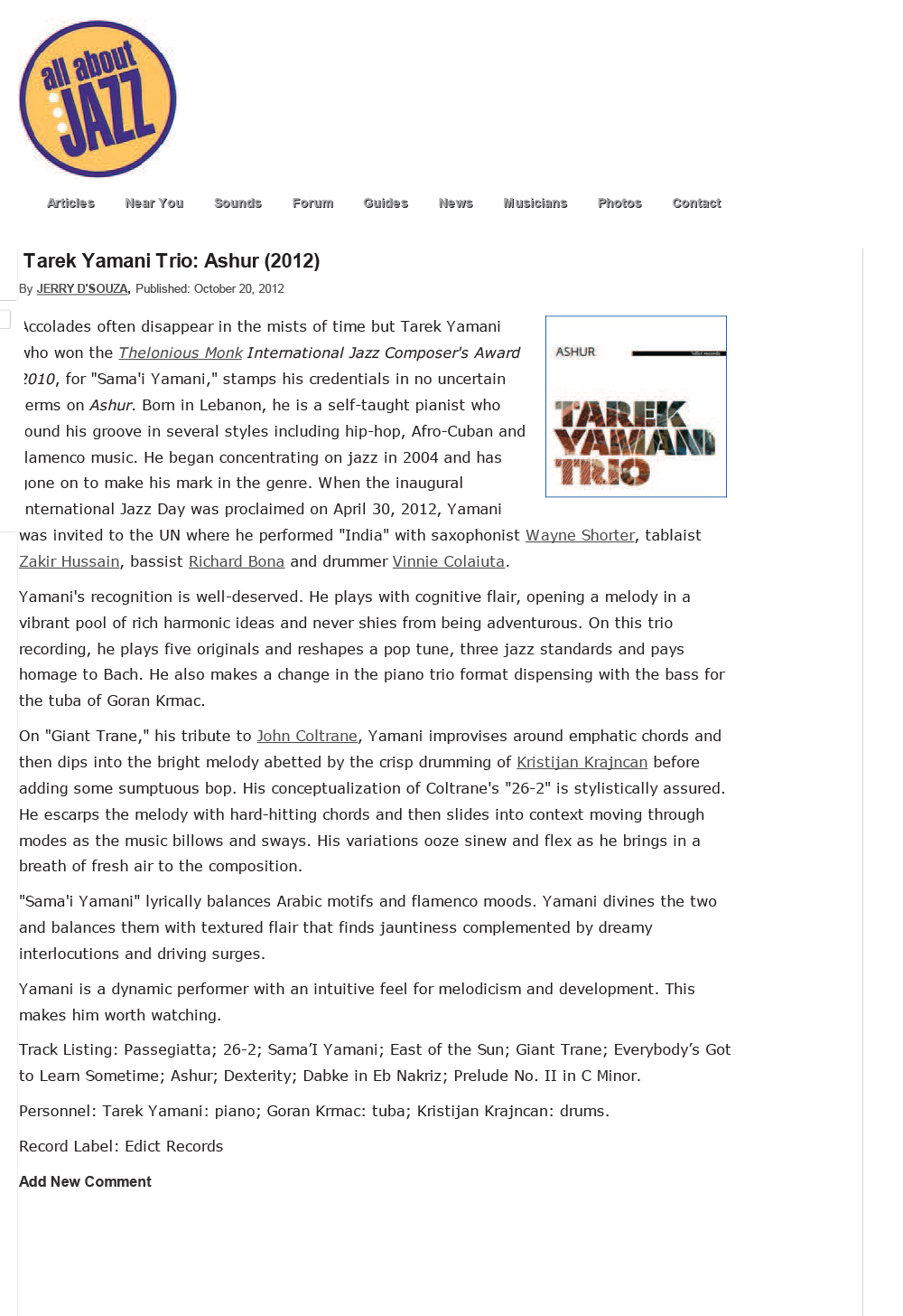All About Jazz  / 20 OCT 2012 / Jerry D'Souza -  ASHUR Album Review