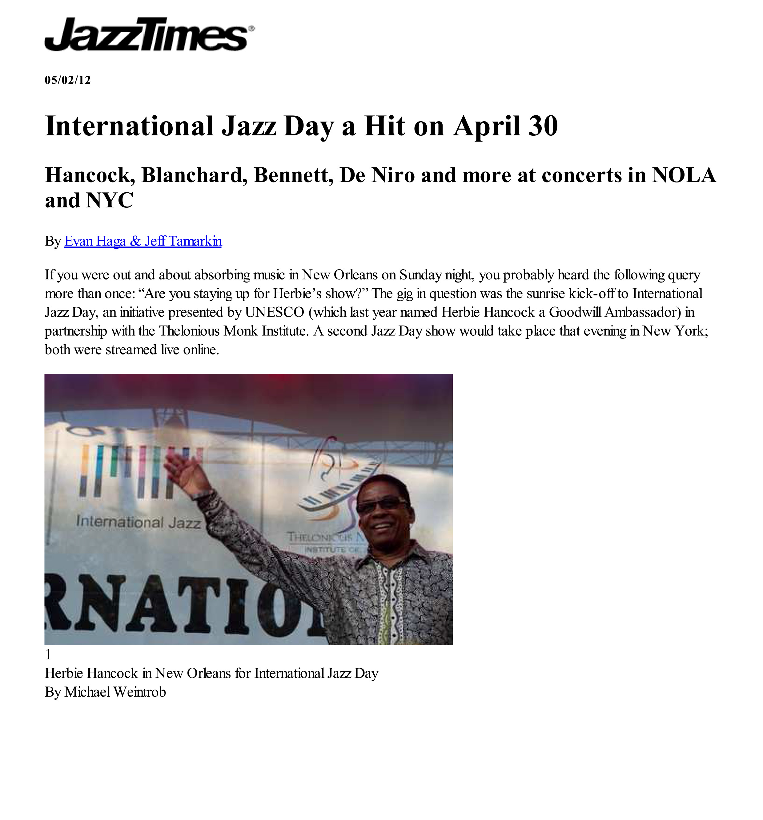 Jazz Times  / 02 May 2012 / Evan Haga & Jeff Tamarkin -  International Jazz Day A Hit on April 30