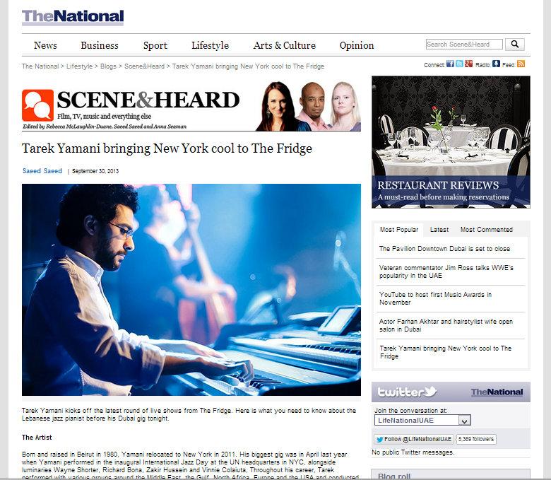 The National  / 30 Sep 2013 / Saeed Saeed -  Tarek Yamani bringing New York cool to The Fridge