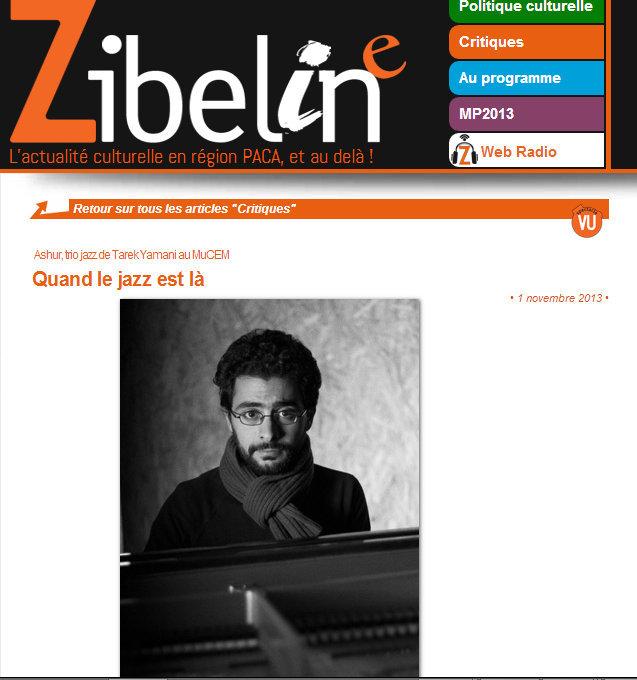 Zibeline  / Nov 1, 2013 / Maryvonne Comlombani -  Quand le jazz est là