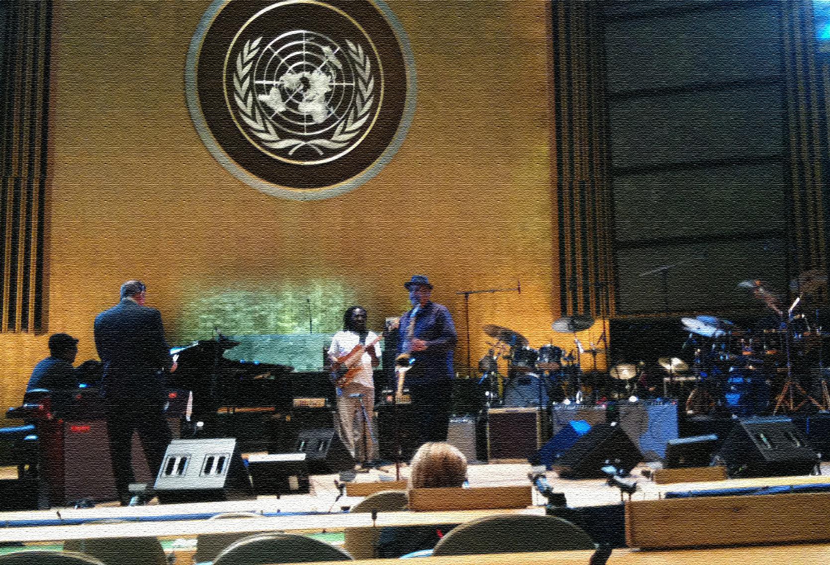Rehearsal D. Perez, R. Bona, J. Lovano & J. DeJohnette Photo by Tarek Yamani