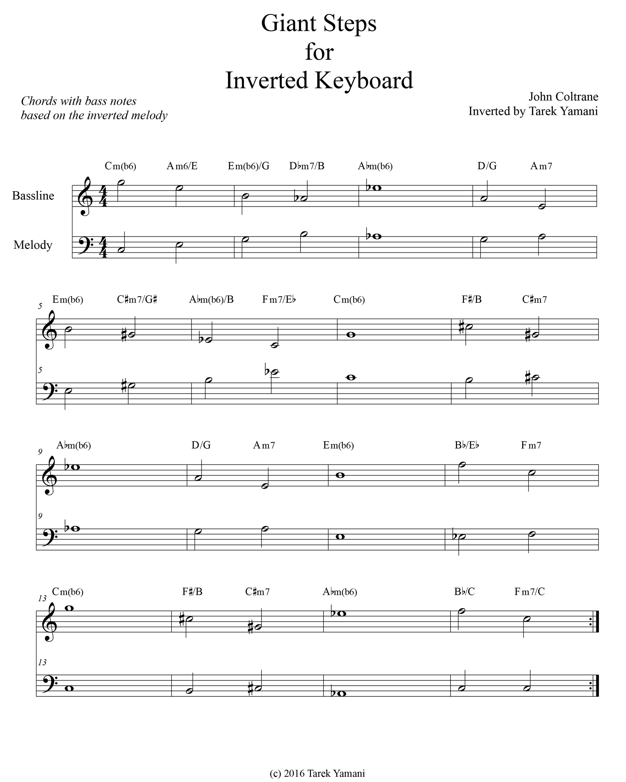 Giant Steps for Inverted Keyboard: A New Harmonic