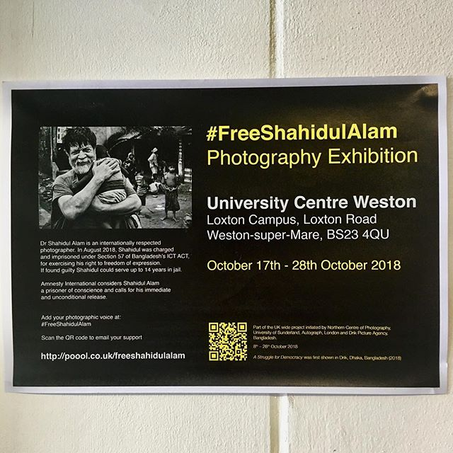 A Struggle for Democracy: Images by Shahidul Alam. University Centre Weston is participating in a Mass Exhibition of work by award winning Photographer, human rights activist and digital pioneer Dr Shahidul Alam in support of the campaign to free him. #FreeShahidulAlam #ucw #filmandmediaarts #lensbased #photography #bristolphotography