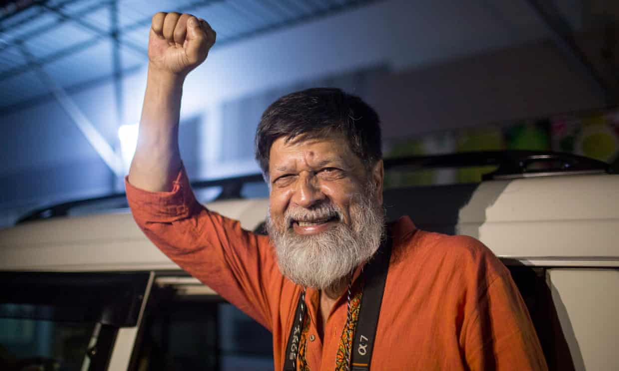 Shahidul Alam after his release from Dhaka's central prison on 20 November. Photograph: Suman Paul/AFP/Getty Images