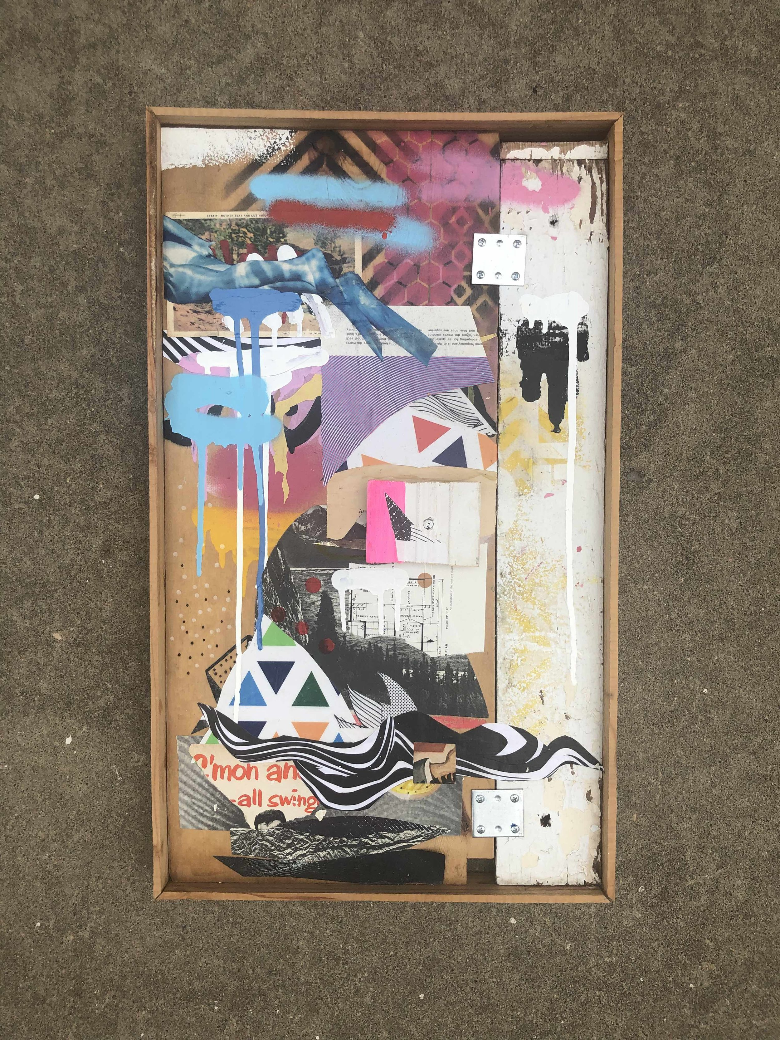 """FOUNDSOUND 208"" 2016 / 2019 - 15"" X 26"" FOUND CLIPPINGS, PREPARED CLIPPINGS, MIXED MEDIA ON FOUND PANEL - $170 (REG. $250)"
