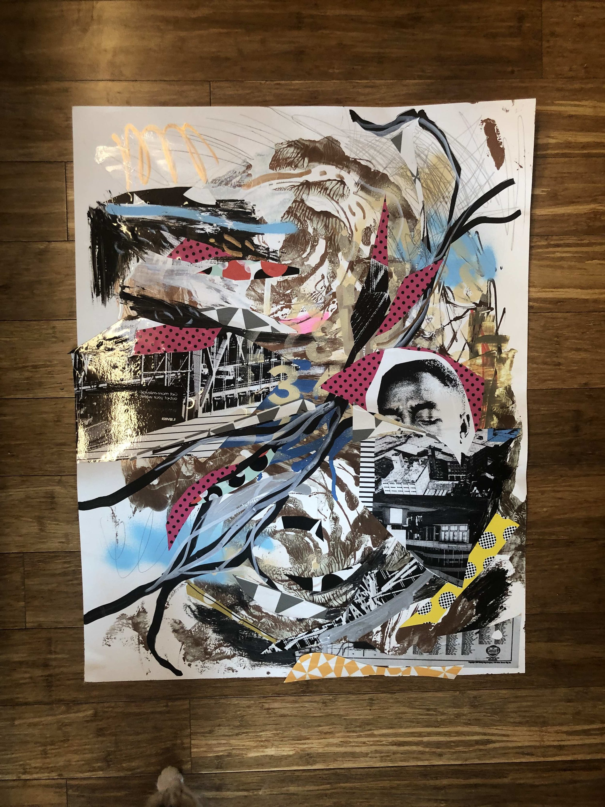 """UNTITLED"" 2019, 24"" X 32"" FOUND CLIPPINGS, PREPARED CLIPPINGS, MIXED MEDIA ON POSTER BOARD - $60 (REG. NFS)"