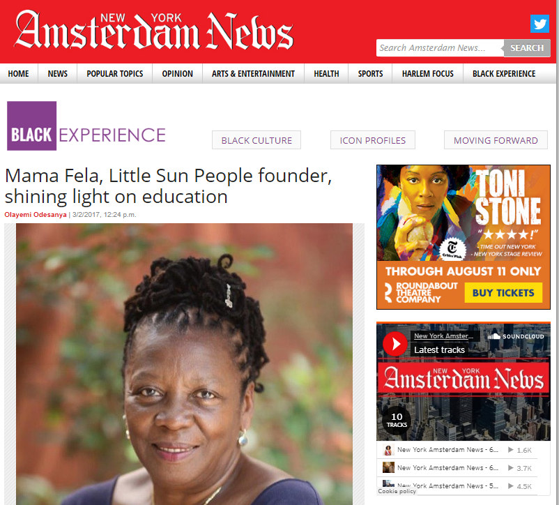 Our Founder Mama Fela was profiled in the Amsterdam News