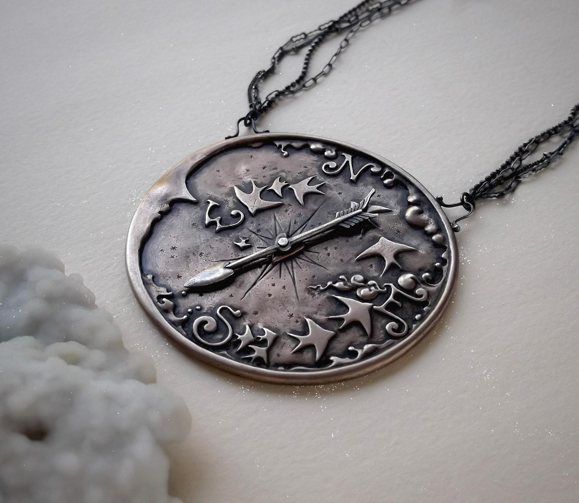 Compass Necklace  Bronze, sterling silver, lavender quartz, moonstone and labradorite