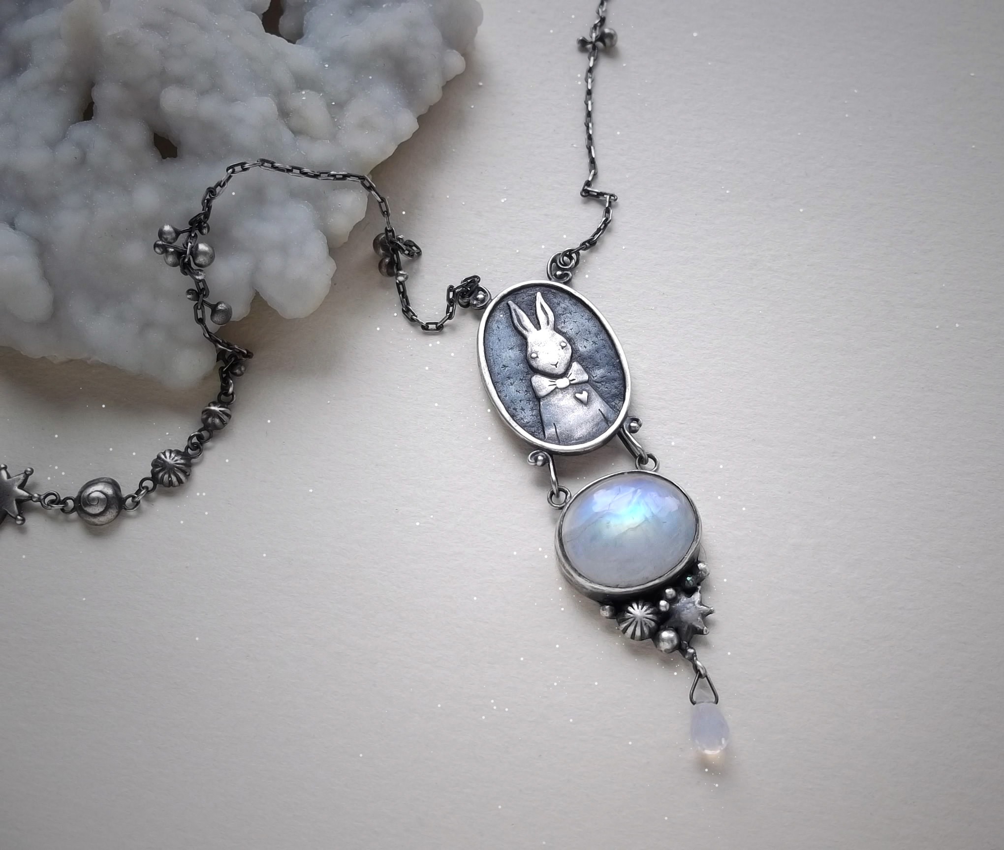Rabbit Necklace  Sterling silver, moonstone and lavender quartz