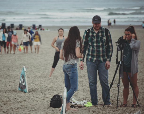 A crew faces audio challenges on the beach at Seaside, OR.