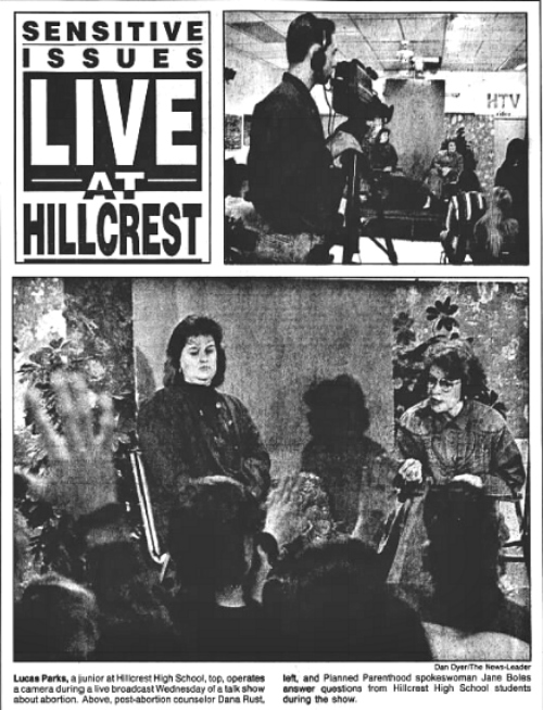 Our first live talk show got front-page coverage from our local newspaper, the Springfield News-Leader,back in 1992.