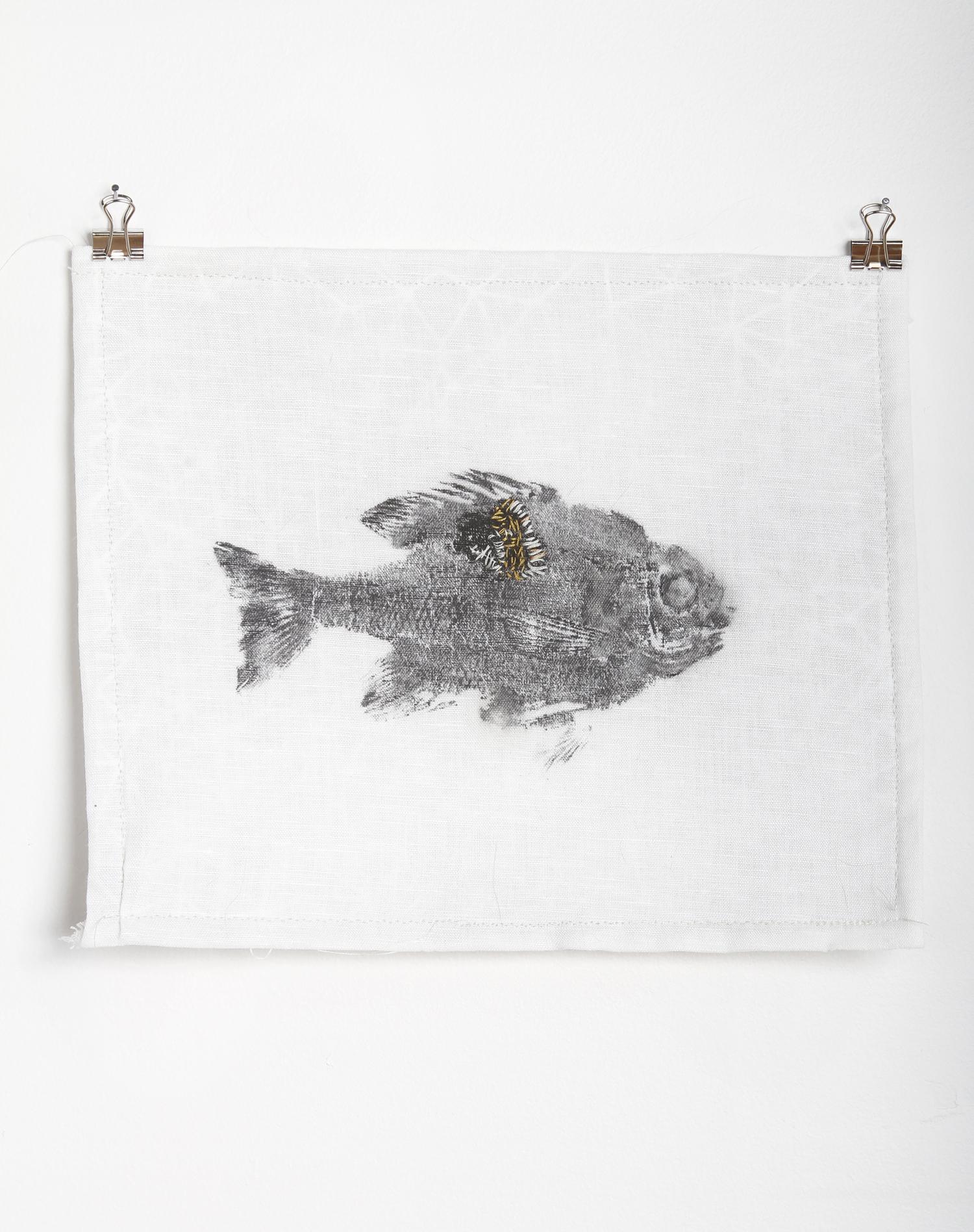 gyotaku fish print with hand embroidery