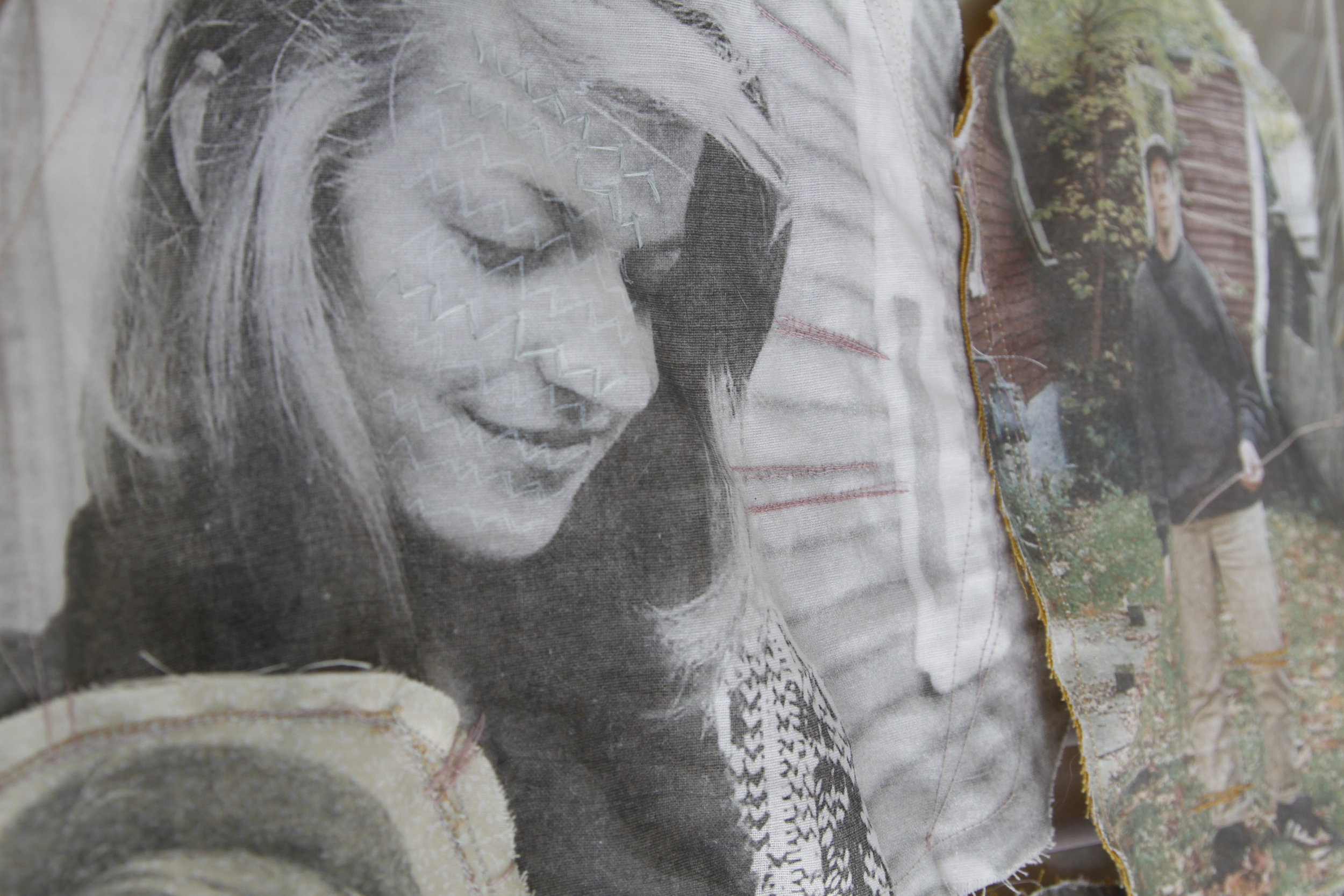 fabric tapestry image transfers onto fabric with silkscreen and embroidered details
