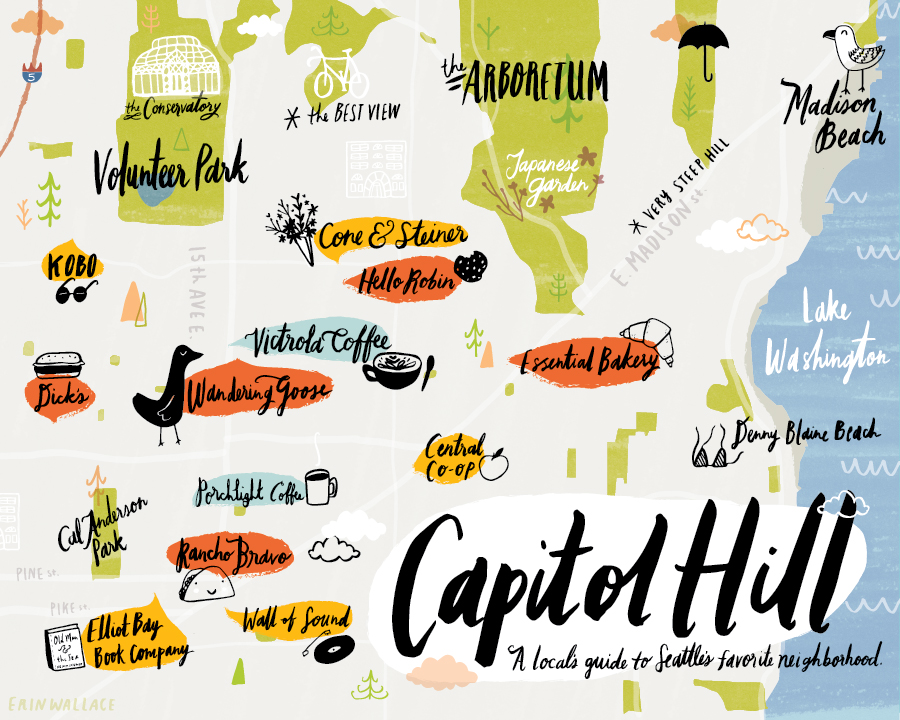 Capitol Hill Seattle Map Erin Wallace Illustration | Capitol Hill Map illustration
