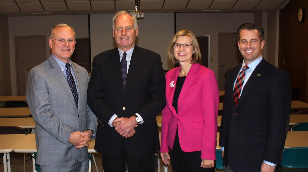 JCC president Cory Duckworth, Sheldon Foundation board president Peter Sullivan, Sheldon Foundation executive director Linda Swanson, and JCC vice president of enrollment management and institutional advancement Kirk Young in one of the areas that will undergo renovation as part of the Sheldon Foundation grant.