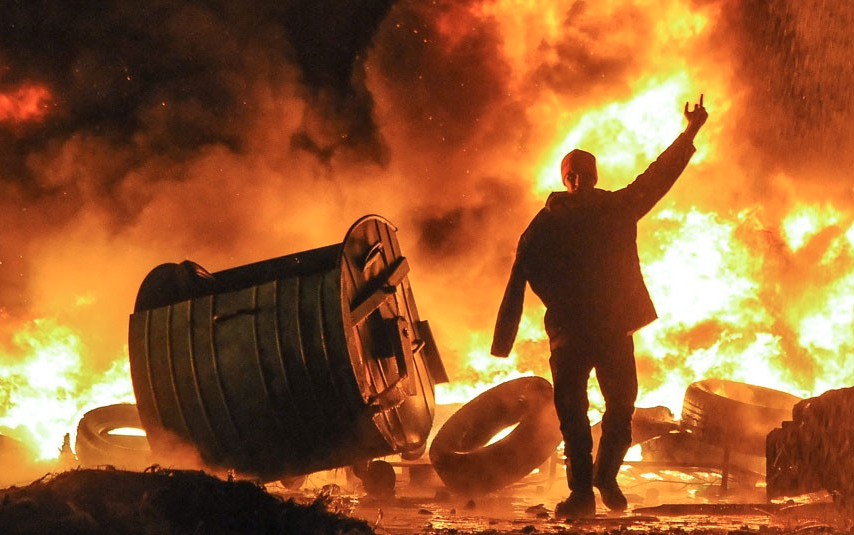 Protesters and police were locked in a tense standoff after ferocious clashes that turned an area of central Kiev into a virtual war zone, with police using tear gas, stun grenades and rubber bullets against protesters hurling stones and Molotov cocktails.Picture: Roman Pilipey/EPA