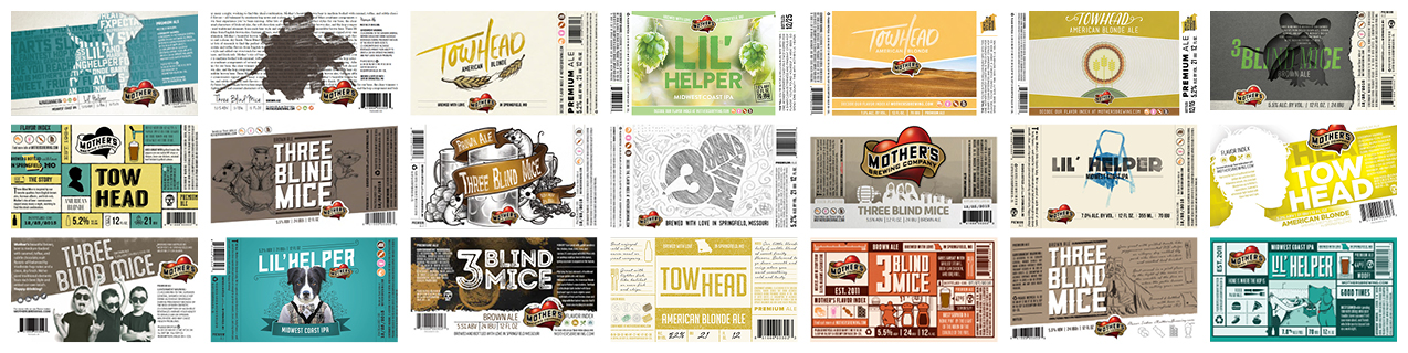 Revel Advertising - Mothers Brewing Bottle Labels Redesign - Concept Grid.jpg