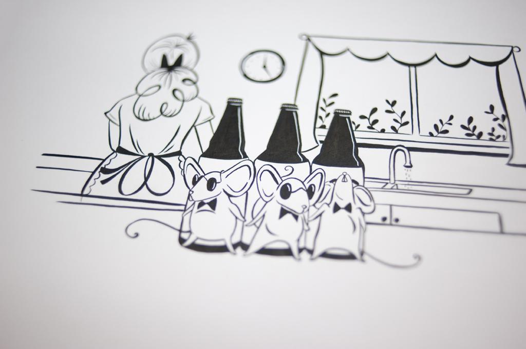 Kendra Miller's final sketch of 3 Blind Mice.
