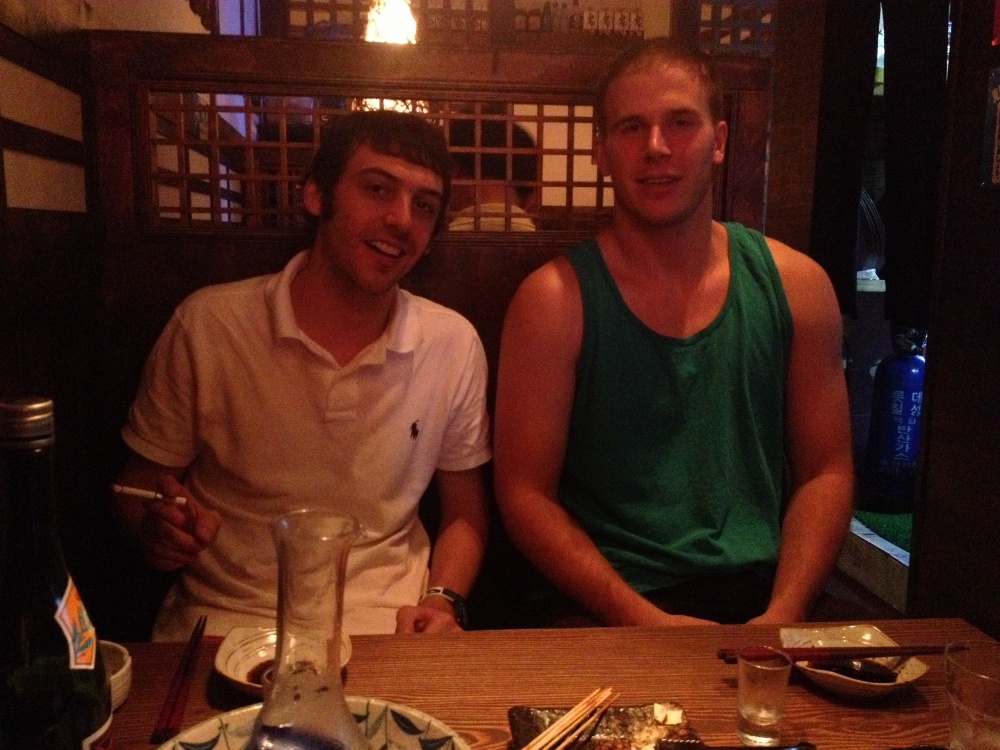 Jamie and Craig in the Japanese restaurant