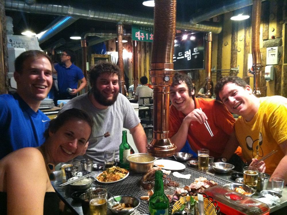 Jamie's farewell meat fest; Suzie, Craig, Eric, Jamie, myself