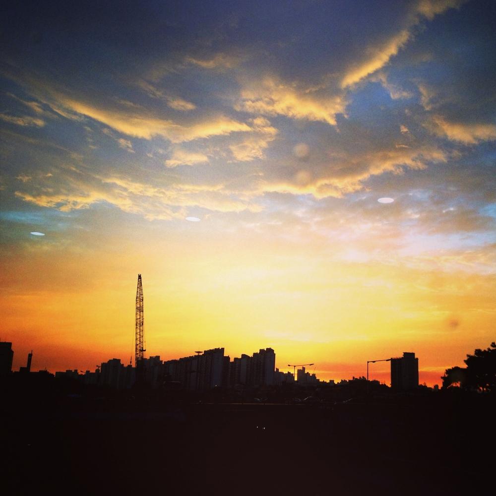 The strange and beautiful orange glow over Daegu on Saturday evening