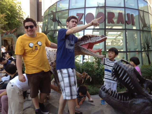 Me and Chase nonchalantly tackling a wild raptor