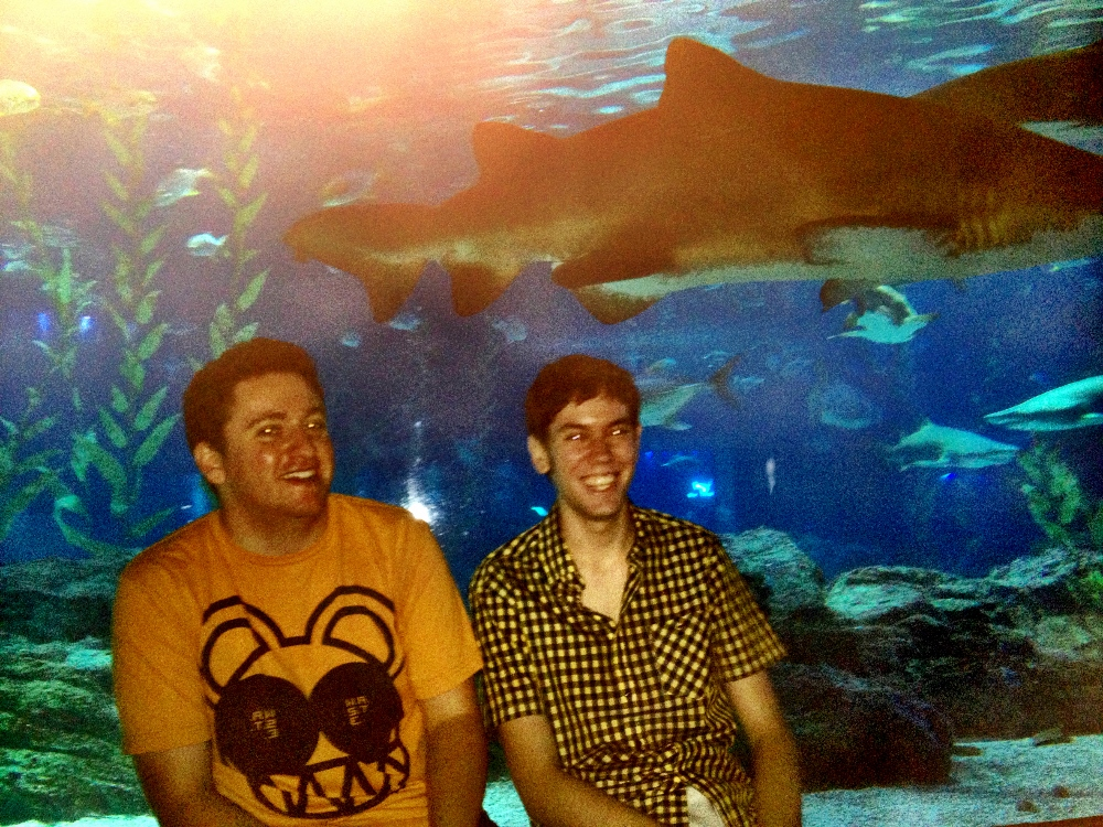 Me and Chase in front of the large shark tank